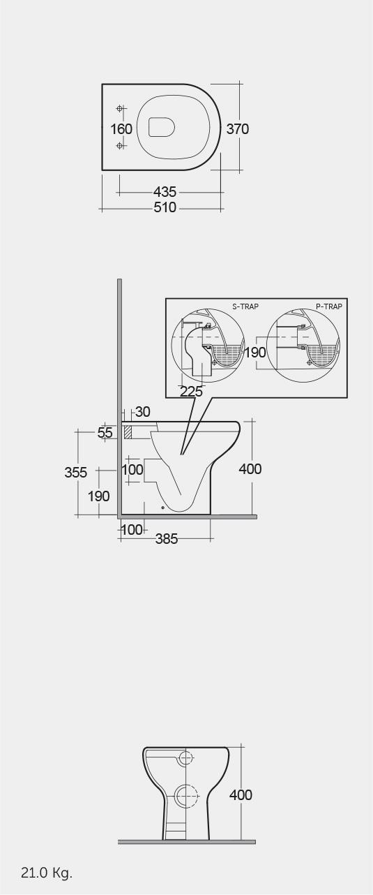 Vaso Wc Rak Ceramics Serie Compact Filo Muro Termoidraulica