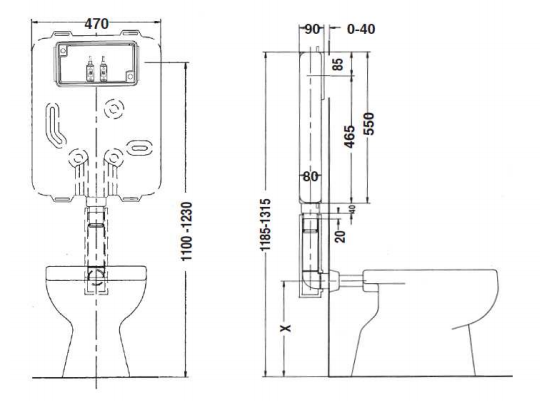 Cassetta doppio scarico Idea Blu 3-6 9 lt e Idea Blu 4.5 3-4,5 6 lt scheda tecnica